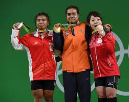 女子重量挙げ48キロ級 「金:タイランド、銀:インドネシア、銅:日本の三宅宏実