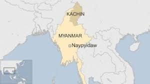 ミャンマー、カチン州の地図