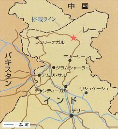 インドのレー、ニューデリーの地図
