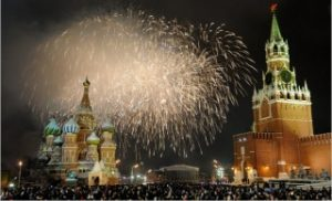 ロシアモスクワの年末年始カウントダウン花火イベント