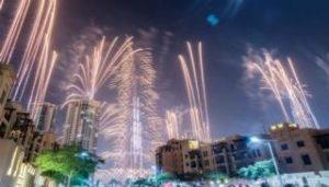 ドバイのカウントダウン花火イベントは世界一